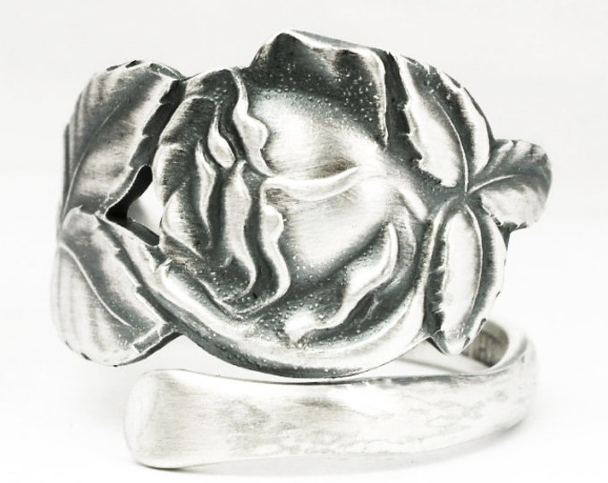 Finnish Silver Rose Ring, Floral Spoon Ring, 813 Sterling Silver Spoon Ring, Floral Wedding Ring, Handmade Jewelry, Custom Ring Size (7140)