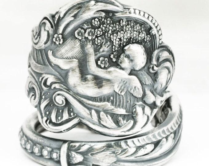 Rare Angel Ring, Sterling Silver Spoon Ring, 925 Gorham Versailles Pattern 1888, Cherub Ring, Baby Wings Gift, Adjustable Ring Size (7116C)