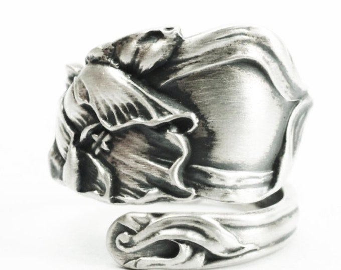 Sterling Silver Tulip Spoon Ring, Handmade Antique Art Nouveau Fessenden Spoon, Handcrafted Gift for Flower Lovers, Adjustable Size (7383)
