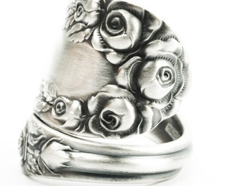 Silver Rose Ring, Sterling Silver Spoon Ring, Antique Wallace Silver 1888, Handmade Gift for Her, 925 Thumb Ring, Adjustable Ring Size, 7370