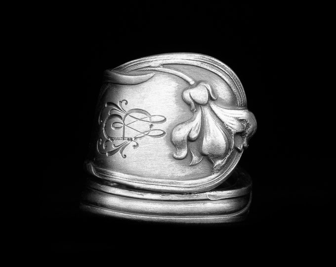 Flower Spoon Ring, Antique German 800 Silver Spoon Ring, Beautiful Silver Handmade Jewelry, Botanical Gift for Her, Adjustable Size (7993)