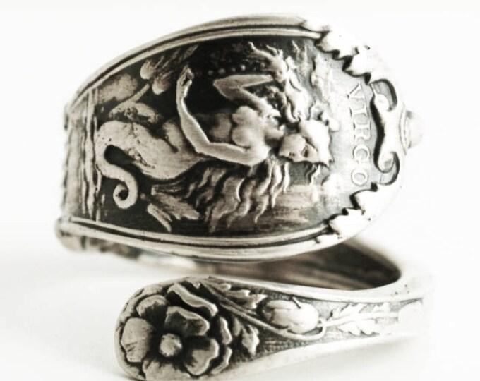 Virgo Ring, Spoon Ring Sterling Silver, Virgo Jewelry, Virgo Zodiac Ring, Horoscope Double Tailed Siren Ring, Mermaid Ring, Custom Size 4756