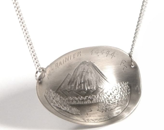 Mount Rainier Sterling Silver Spoon Bowl Necklace, Seattle Necklace, Washington Jewerly, Mountain View Necklace, 925 Unique Gift (P7249)