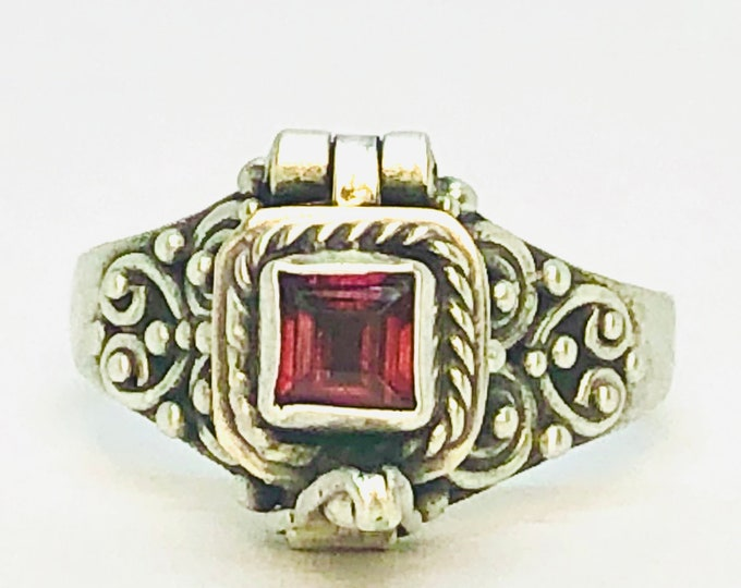 Ruby Poison Ring, Square Locket Ring, Sterling Silver Secret Chamber Ring, Gift For Her, Red Sapphire Ring, July Birthstone, SIZE 5, (P5)