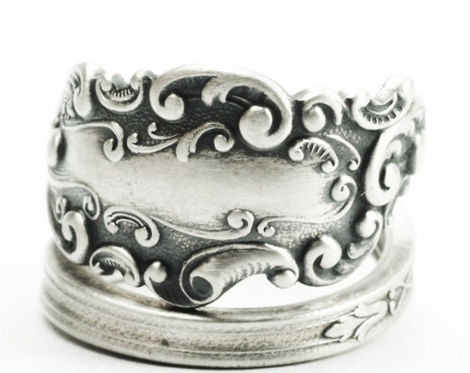 Vintage Victorian Ring, Rococo Ring, Sterling Silver Spoon Ring, Antique Gorham 1893 Luxembourg, Handmade Gift, Adjustable Ring Size (7379)
