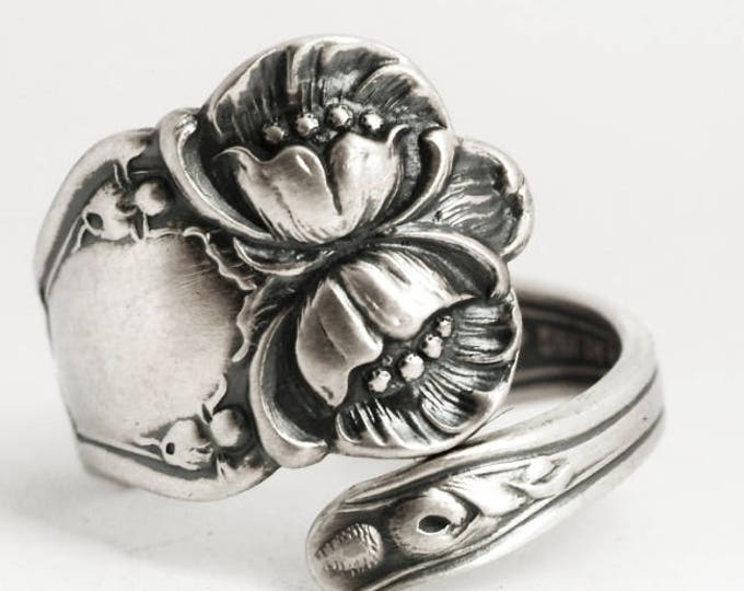 Wild Rose Ring, Sterling Silver Spoon Ring, Antique Baker Manchester, Floral Wild Rose, Handmade Gift Her, Butterfly Ring (5900)