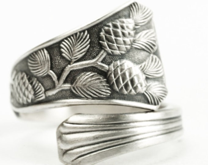 Small Pine Cones Ring, Ponderosa Pine Cone, Sterling Silver Spoon Ring, Pinecone Ring, Nature Inspired Jewelry, Ring Size 2 3 4 5 6 7 (7245)