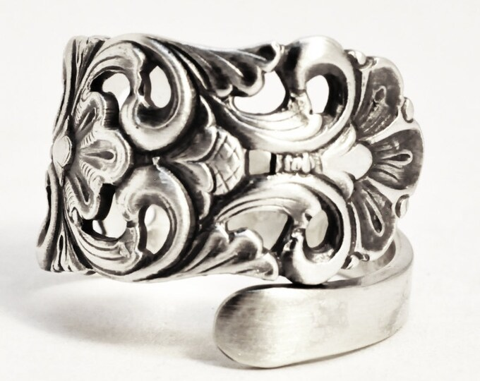 Nordic Spoon Ring, Swirl Ring, Vintage Nordic Design, 830 Sterling Silver, Norse Ring, Handmade Gift Her or Him, Adjustable Ring Size (7515)