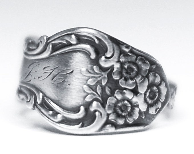 Petite Silver Rose Ring, Sterling Silver Spoon Ring, Size 6.5 Fancy Ring, Antique Watson Meadow Rose ca 1907, Floral Ring, Mono M B H (7907)
