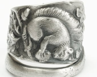Squirrel Ring, Acorn Nuts Fall Leaves, Woodland Gift, Cute Animals, Sterling Silver Spoon Ring, Handmade Gift, Customizable Ring Size (7174)