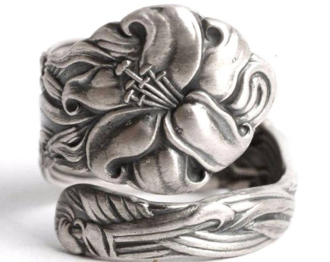 Petite Stargazer Lily Ring, Sterling Silver Spoon Ring, Tiger Lily, Frontenac Victorian, Floral Ring, Gift For Her, Custom Ring Size (5916B)