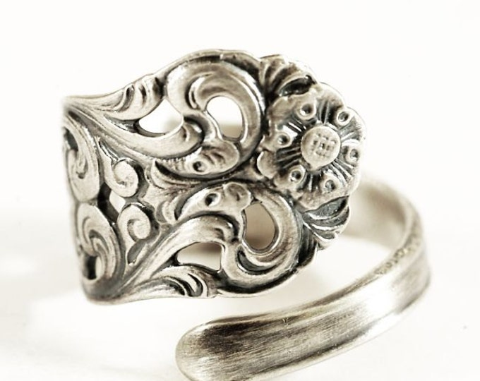 Nordic Spoon Ring, Swirl Ring, Vintage Nordic Design, Sterling Silver Spoon Ring, Norse Ring, Handmade Gift Her, Adjustable Ring Size (5809)