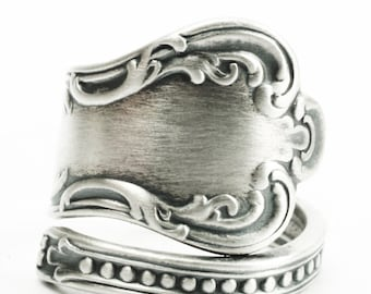 Milgrain Victorian Ring, Sterling Silver Spoon Ring, Handmade Silver Gift for Her, Antique Wendell ca 1900, Wrap Adjustable Ring Size (7381)