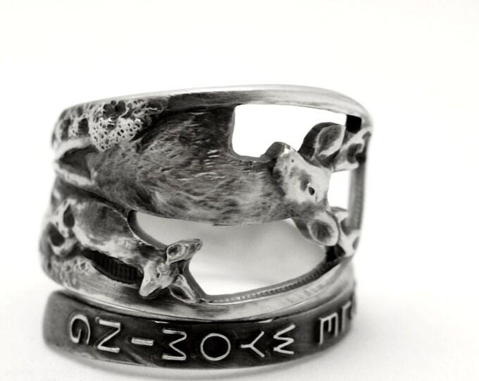 Jackson Hole Wyoming Ring, Sterling Silver Spoon Ring, Elk Ring, Stag Animal Ring, Deer Family, Wyoming Souvenir, Adjustable Ring Size, 7789