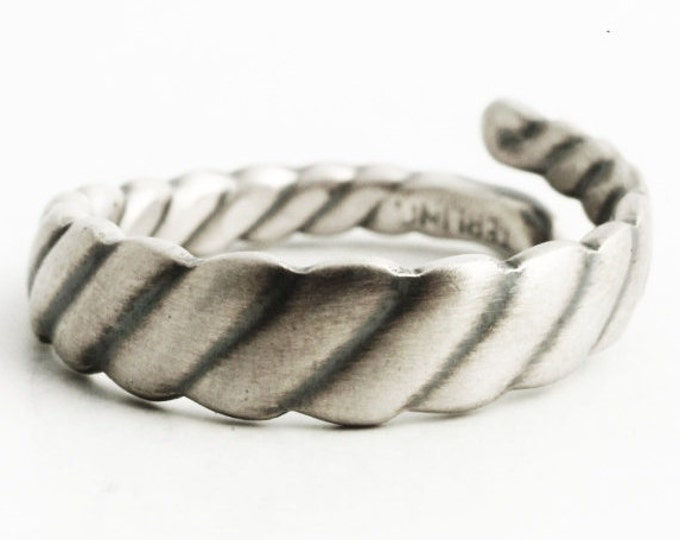 Unique Art Deco Ring, Sterling Silver Twisted Antique Spoon Ring, Minimalist Ring for Him or for Her, Repurposed Adjustable Ring Size (6966)