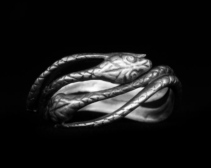 Double Snake Ring, Sterling Silver Ring, Serpent Ring, Handmade Gift for Him or Her, Snake Lover Gift, Animal Jewelry, Size 5 6 7 8 (7982)
