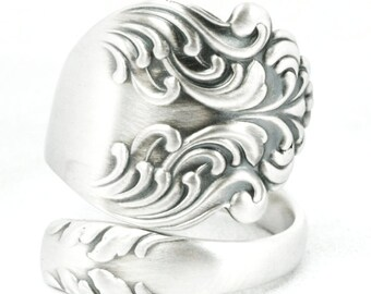 Swirly Art Nouveau Ring, Organic Ring, Spoon Ring Sterling Silver, Rare Antique Flatware ca 1890, 925 Unique Gift, Customized Ring Size 7089