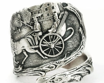 Unique Horse and Carriage Ring, Sterling Silver Spoon Ring, Antique Quebec Canada Ring, Horse Drawn Carriage, 925 Adjustable Ring Size, 7151