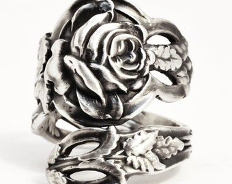 Silver Rose Ring, Sterling Silver Spoon Ring, Tea Rose, Floral Ring, Victorian Rose, Rosebud Flower, Eco Friendly Adjustable Ring Size (530)