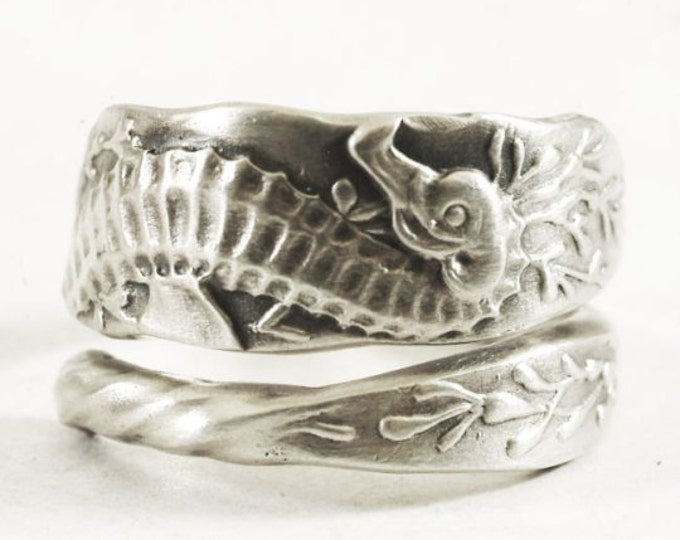 Seahorse Ring, Sterling Silver Spoon Ring, Father Daughter Gift, Ocean Jewelry, Sea Horse Jewelry, Father Son Gift, Custom Ring Size (3577)