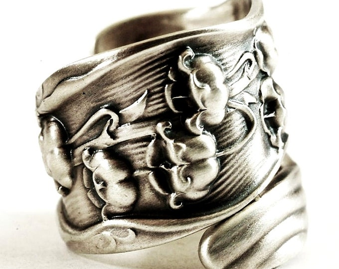 Large Spoon Ring, Lily of the Valley Ring, Floral Ring, Flower Ring Silver, Botanical Jewelry, Adjustable Ring Size, 6270