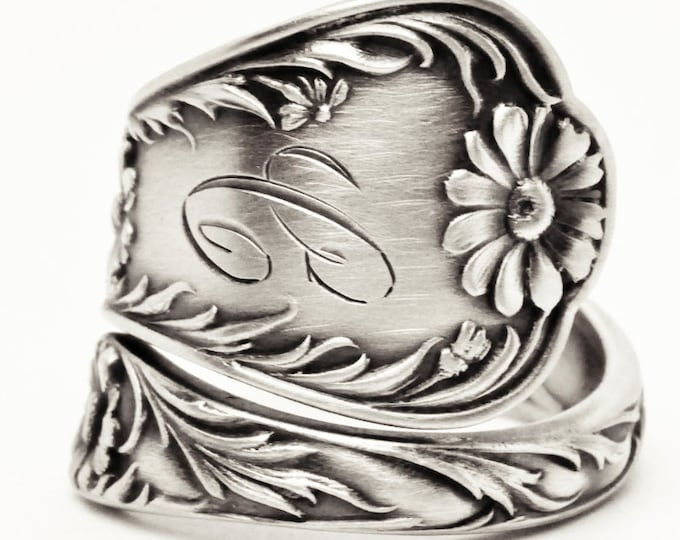 Daisy Ring, Sterling Silver Spoon Ring, Flower Spoon Ring, 5th Wedding Gift for Her, Custom Ring Size, Antique Gorham Marguerite Mono C 7611