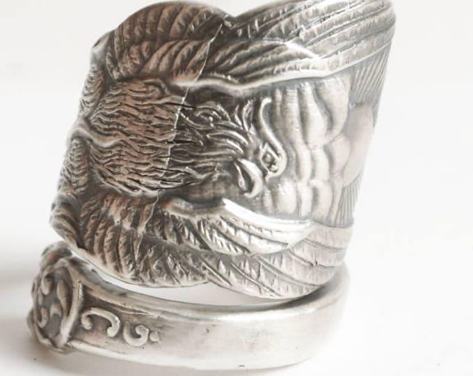 Phoenix Rising Ring, Large Sterling Silver Spoon Ring, Handmade Jewelry, Phoenix Wings, Pheonix, Gift for Him or Her, Adjustable Ring (7130)