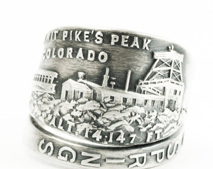 Summit Pike's Peak Colorado Springs Ring, Sterling Silver Spoon Ring, Souvenir Colodaro Lover Gift for Her or Him, Ring Size 6 7 8 9 (7305)