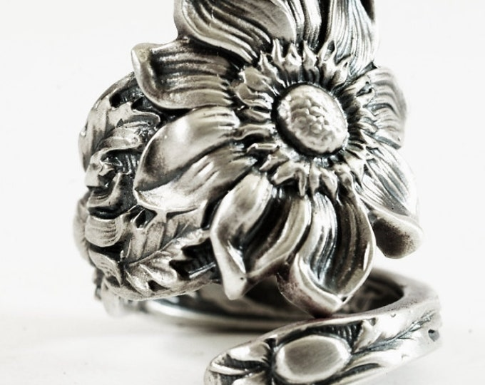 Daisy Flower Ring, Sterling Silver Spoon Ring, Daisy Ring, Sunflower ring, Gift for Her, Adjustable Ring, Chunky Ring, Nature Inspired  4170