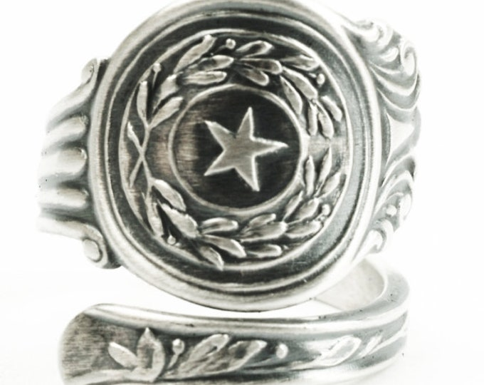 Texas Ring, Sterling Silver Spoon Ring, Texas Star Texas Lover Gift, Handmade Jewelry, 925 Eco Friendly Souvenir, Adjustable Ring Size, 7313