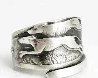 Greyhound Racing Ring, Sterling Silver Spoon Ring, Dog Ring, Dog Lover Gift, Ready to Ship, Last Minute Gift, Adjustable Ring Size (6374)