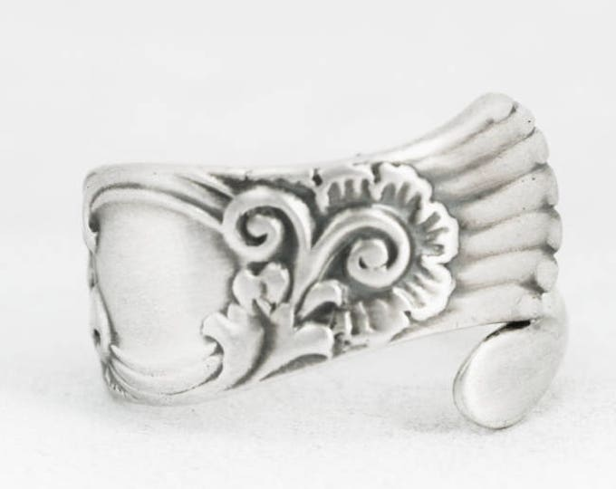 Petite Rococo Ring, Sterling Silver Spoon Ring, Antique Spoon Pattern by Towle ca 1880, Handmade Gift for Her, Custom Pinky Ring Size (7041)