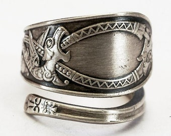 Nordic Design Dragon Ring, 830 Sterling Silver Spoon Ring, Norse Ring, Tribal Ring, Dragon Jewelry, Unique Silver Ring, Adjustable Ring 8000