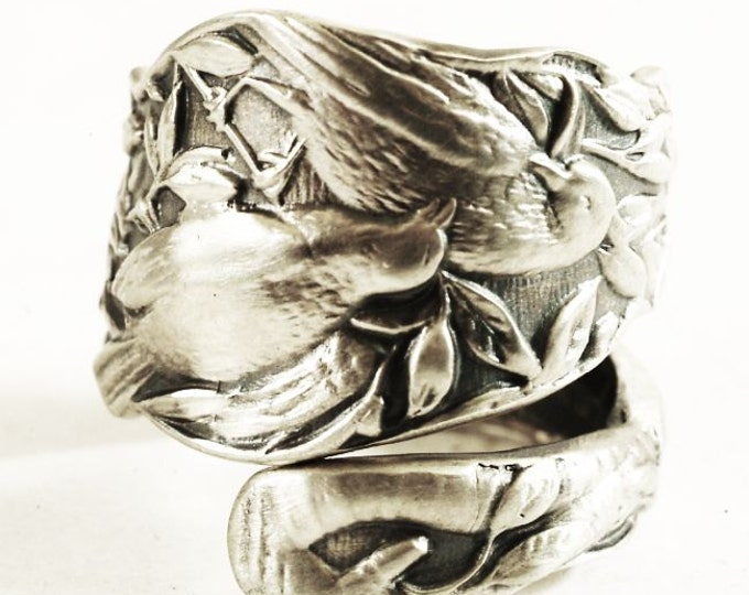 Bird Ring, Sterling Silver Spoon Ring, Birds on a Branch, Bird Jewelry, Put a Bird On It, Bird Spoon Ring, Adjustable Ring, Bird Lover, 3590
