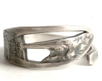 Yellowstone Park Ring, Vintage Spoon Ring, Sterling Silver Spoon Ring, Old Faithful Vacation, Handmade Gift, Adjustable Ring Size (6170)