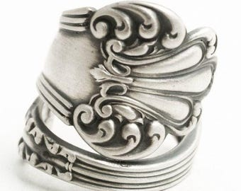"Victorian Sterling Spoon Ring, Watson ""Olympia"" Antique and Elegant Design, Rococo Ring, 5th Anniversary Gift for Her, Custom Ring Size 6154"