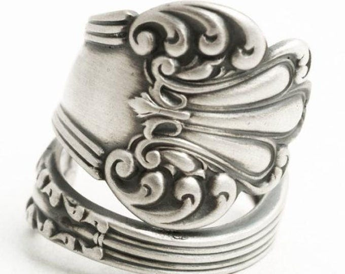 """Victorian Sterling Spoon Ring, Watson """"Olympia"""" Antique and Elegant Design, Rococo Ring, 5th Anniversary Gift for Her, Custom Ring Size 6154"""