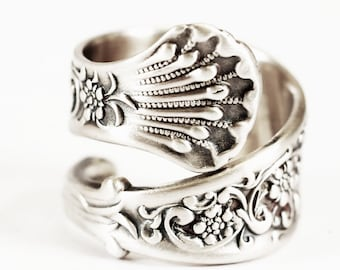 Forget Me Not Flower Spoon Ring Sterling Silver, Antique Whiting Hyperion ca 1888, Rococo Ring, Gift for Woman, Adjustable Ring Size (5845)