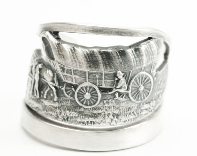 Old West Wagon Ring, Sterling Silver Spoon Ring, Death Valley National Park Ring, California Ring, Western Cowboy, Adjustable Ring Size 7206