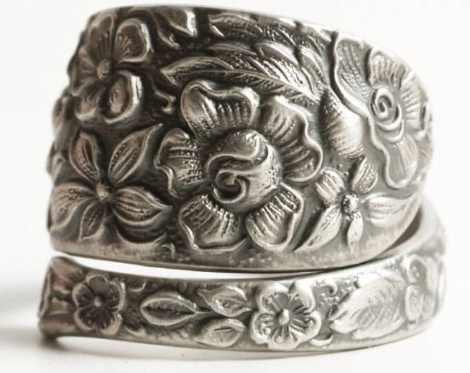 Southern Rose Ring, Sterling Silver Spoon Ring, Antique Manchester ca 1910, Floral Wild Rose, Handmade Gift Her, Adjustable Ring, 925 (6737)