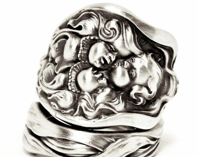 Unger Brothers Cupid's Nosegay Antique Sterling Silver Spoon Ring, Unger Bros Baby Faces, 925 Art Nouveau Gift for Her Adjustable Ring, 7564