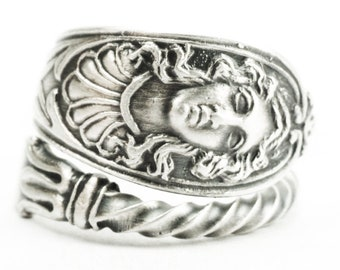 Goddess Ring, Antique Sterling Silver Spoon Ring, Art Nouveau Gypsie Ring, Greek God Womans Face, Adjustable Ring, Figurative Jewelry (7385)