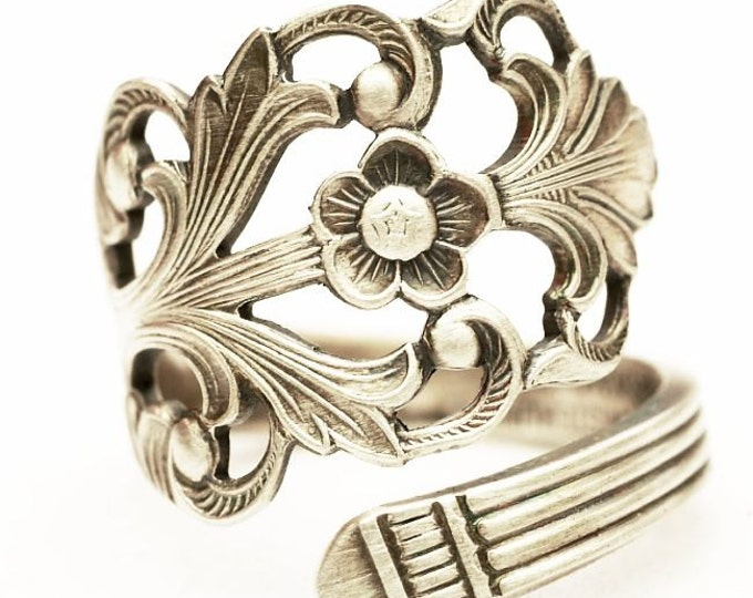 Floral Victorian Ring, Norwegian Jewelry, Nordic Ring, 830 Sterling Silver Spoon Ring, Handmade Norway, Adjustable Ring Size 5 6 7 8 (7655)