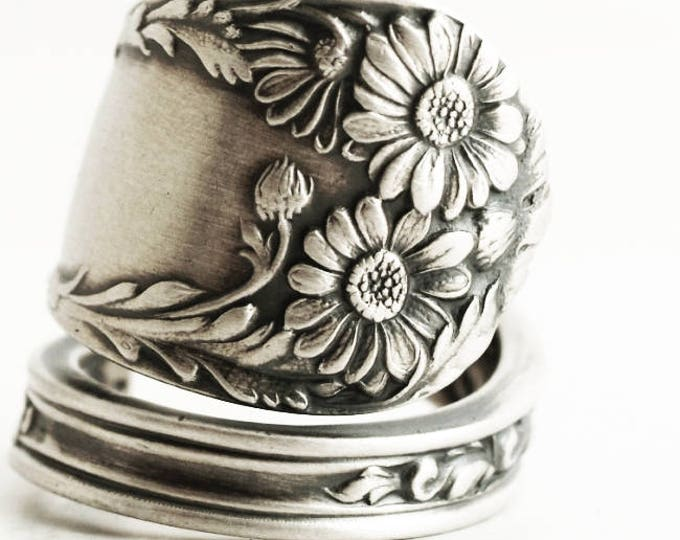 Daisy Ring, Sterling Silver Spoon Ring, Daises Flower Ring, July Gift, 5th Wedding, Handmade Gift, Adjustable Ring Size, International, 7085
