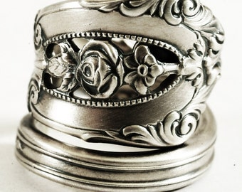 "Vintage Victorian Rose Ring, Rose Flower, Sterling Silver Spoon Ring, Wallace ""Rose Point"" ca 1934, Gift for Her, Adjustable Ring Size, 6872"