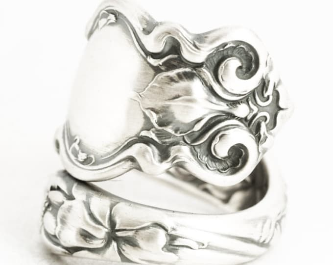 Iris Ring, Art Nouveau Flower Ring, 925 Sterling Silver Spoon Ring, Wallace Antique Spoon Ring, 5th Anniversary Gift, Adjustable Size (7241)
