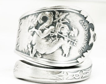 Antique Aquarius Ring, Zodiac Ring, Sterling Silver Spoon Ring, Poseidon Trident, January Jewelry, Gorham Aquarius Jewelry, Cutom Size, 7163