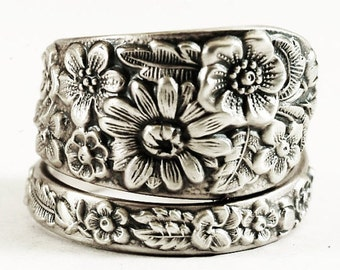 Alvin Wild Flower Ring, Antique Sterling Silver Spoon Ring, Wedding Alternative Bridal Bouquet, Botanical Gift for Her, Adjustable Size 5813