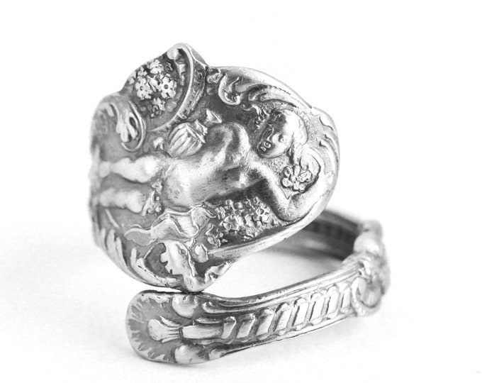 Dionysus Ring, Sterling Silver Spoon Ring, Wine Gifts for Women, Antique Art Nouveau Gorham Versailles ca 1888, Adjustable Ring Size (7643)