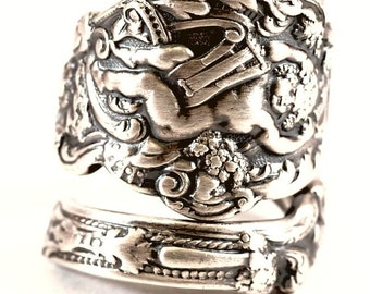 Sterling Gorham Versailles Cherub Ring, Antique 1888 Sterling Silver Spoon Ring, Baby Angel with Harp and Grapes, Adjustable Ring Size, 7305
